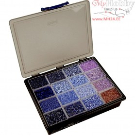 Rocaille Seed Beads, size 6/0+8/0 , D: 3+4 mm, blue/purple harmony, Storage box not included, 16x100g, hole size 0,6-1,0+0,9-1,2