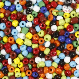 Rocaille Seed Bead Mix, size 6/0 , D: 4 mm, asstd colours, multi color, 1000g, hole size 0,9-1,2 mm