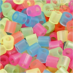 Fuse Beads, size 5x5 mm, hole size 2,5 mm, neon colors, medium, 5000mixed