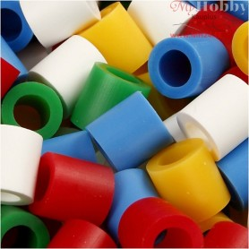 Fuse Beads, size 10x10 mm, hole size 5,5 mm, standard colours, jumbo, 3200mixed