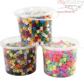 Fuse Beads, size 10x10 mm, hole size 5,5 mm, asstd colours, jumbo, 3x550mixed