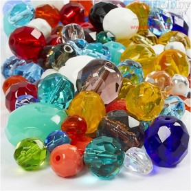 Faceted Bead Mix, size 3-15 mm, hole size 0,5-1,5 mm, asstd colours, 400g, approx. 1030 pc