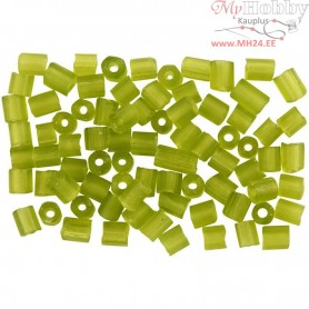 Rocaille Seed Beads, size 6/0 , D: 4 mm, frosted leaf green, 2-cut, 500g, hole size 0,9-1,2 mm