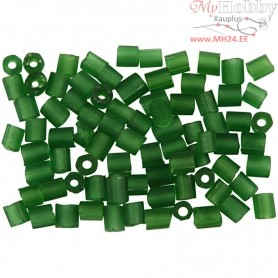 Rocaille Seed Beads, size 6/0 , D: 4 mm, frosted light green, 2-cut, 500g, hole size 0,9-1,2 mm