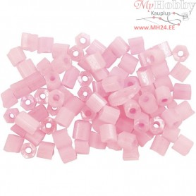 Rocaille Seed Beads, size 6/0 , D: 4 mm, rose, 2-cut, 25g, hole size 0,9-1,2 mm