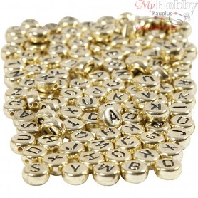 Letter Beads, D: 7 mm, hole size 1,2 mm, gold, 21g, approx. 200 pc