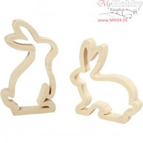 Bunnies, H: 14 cm, W: 13 cm, plywood, 2pcs, depth 2 cm