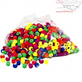 Link Beads, size 8x10 mm, hole size 5 mm, neon colours, 300g