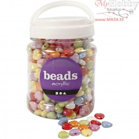 Heart Beads, size 15x15 mm, hole size 3 mm, asstd colours, 465 g, 700ml, approx. 700 pc