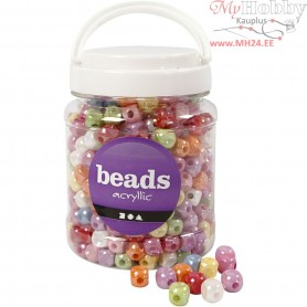 Dice Bead Mix, size 10x10 mm, hole size 4 mm, asstd colours, 400 gr, 700ml, approx. 520 pc