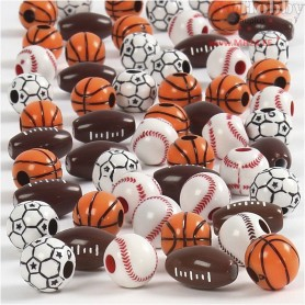 Sports Beads, size 11-15 mm, hole size 3-4 mm, asstd. colours, 45g, approx. 55 pc