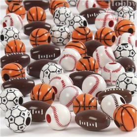 Sports Beads, size 11-15 mm, hole size 3-4 mm, asstd. colours, 270g, approx. 220 pc