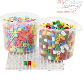 Fuse Beads, size 10x10 mm, hole size 5,5 mm, pastel colours, standard colours, jumbo, 2x550mixed