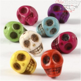 Howlite Beads, D: 12 mm, hole size 1,5 mm, bold colours, skull, 32pcs
