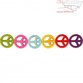 Howlite Beads, D: 25 mm, hole size 1,5 mm, bold colours, peace, 16pcs