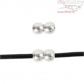 Jewelery Clasp, L: 13 mm, W: 7 mm, silver-plated, 1pc, hole size 3 mm