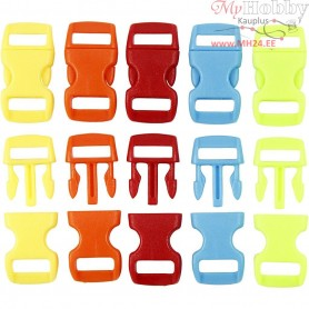 Click Clasp, W: 15 mm, L: 29 mm, asstd. colours, 100mixed, hole size 3x11 mm
