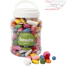 Wooden Beads, size 5-28 mm, hole size 2,5-3 mm, asstd colours, china berry, 175 g, 400ml, approx. 466 pc