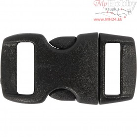 Click Clasp, W: 15 mm, L: 29 mm, black, 4pcs, hole size 3x11 mm