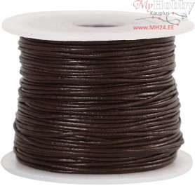 Leather Cord, thickness 1 mm, brown, 50m