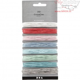 Cotton Cord, thickness 1 mm, asstd colours, 8x5m