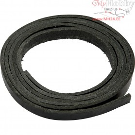 Leather band, W: 10 mm, thickness 3 mm, black, 2m