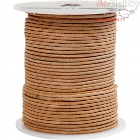 Leather Cord, thickness 2 mm, natural, 50m