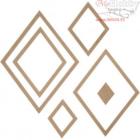 Wall Decoration, diamonds, H: 6,5-29,5 cm, W: 5-22,5 cm, MDF, 6pcs, thickness 5 mm