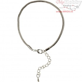 Bracelet, L: 18 cm, D: 3 mm, silver-plated, 1pc
