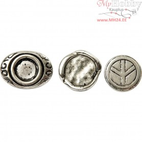 Link button, D: 15-22 mm, hole size 4 mm, antique silver, 45mixed