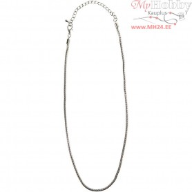 Necklace, L: 45 cm, D: 3 mm, silver-plated, 1pc