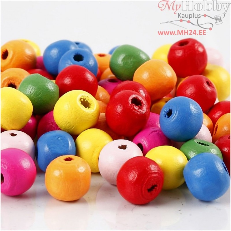 Approx 8 Colours 10mm Approx Wooden Beads Wood Balls With 3mm Hole -