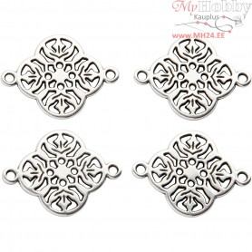 Jewellery Pendant, D: 15 mm, hole size 1,2 mm, silver-plated, 4pcs