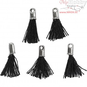 Cotton Tassel, L: 10 mm, hole size 1 mm, black, 5pcs