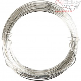 Silver-plated Wire, thickness 0,6 mm, silver, 10m