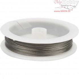 Beading Wire, thickness 0,38 mm, silver, 7 strands, 30m
