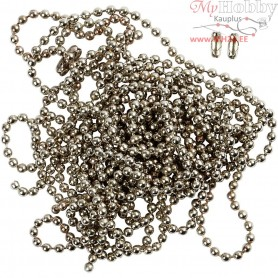 Bead Chain, D: 1,5 mm, silver-plated, 3m