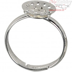 Sieve Rings, D: 17-20 mm, silver-plated, 3pcs