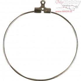 Beading Hoops, D: 40 mm, silver-plated, 6pcs