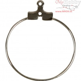 Beading Hoops, D: 25 mm, silver-plated, 60pcs