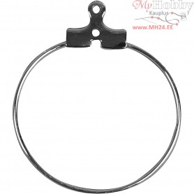 Beading Hoops, D: 25 mm, silver-plated, 8pcs