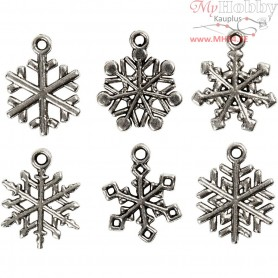 Snowflake, H: 20 mm, hole size 1,5 mm, antique silver, 18mixed