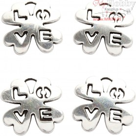Jewellery Pendant, D: 18 mm, hole size 3 mm, silver-plated, 4pcs