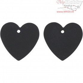 Heart, size 16x17 mm, hole size 1 mm, black, 4pcs