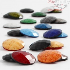Cabochons, D: 14 mm, thickness 4 mm, asstd colours, 300mixed