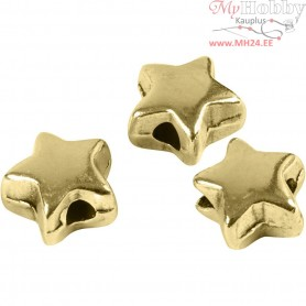 Spacer Bead, size 5,5x5,5 mm, hole size 1 mm, gold-plated, 3pcs