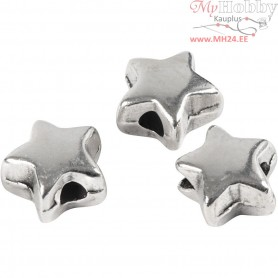 Spacer Bead, size 5,5x5,5 mm, hole size 1 mm, silver-plated, 3pcs