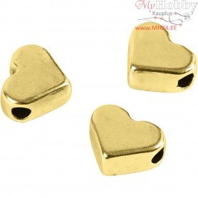 Spacer Bead, size 5,5x7 mm, hole size 1 mm, gold-plated, 3pcs