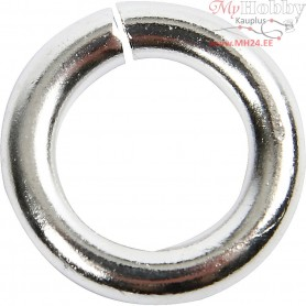 Silver Ring, D: 10 mm, inner size 6 mm, silver-plated, 30pcs, thickness 2 mm