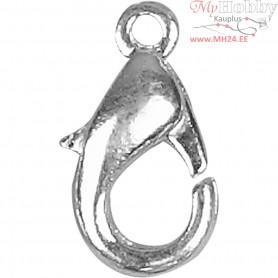 Lobster Claw Clasps, L: 12 mm, silver-plated, 5pcs